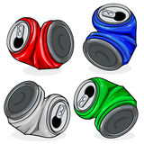 Crushed tin cans. Vector illustration of crushed tin cans in four colors, red, blue, silver and green, on white background, isolated Royalty Free Stock Images
