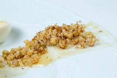 Crushed walnuts with sauce Stock Images