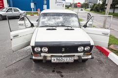 Crushed white VAZ-2106 car, front view Royalty Free Stock Photo