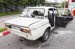 Crushed white VAZ-2106 car Royalty Free Stock Photography
