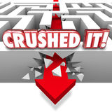 Crushed It Words Arrow Crashing Through Maze Walls Great Job Com Stock Photo