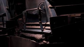 Crushing machinery, conveying small, crushed granite gravel stone. Mining equipment in working process, heavy industry. Crushing machinery, conveying small stock video