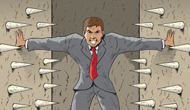 Crushing walls. Drawing of a man with crushing walls royalty free illustration