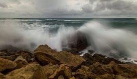 Crushing waves on the rocks. In Corfu Greece Ionian Islands Europe Royalty Free Stock Photos