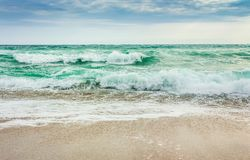 Crushing waves on sandy beach. Weather before the morning storm Royalty Free Stock Images