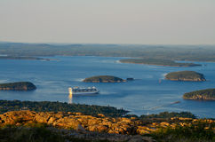 Crusing. A cruise ship docked in the bay off the Northeast coast of Maine in Acadia National park Stock Photography