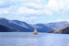Crusing in Hakone lake. A beautiful ship cruising in Hakone lake, Japan Stock Photo