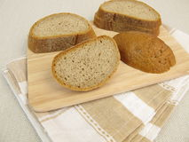 Crust of bread from rye brad Stock Images