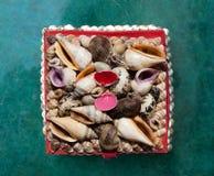 Crustacean shells in a basket Stock Photo