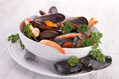 Crustacean soup. Bowl of gourmet crustacean soup Royalty Free Stock Photo
