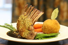 Crusted Rack of Lamb. Rack of Lamb crusted with mustard and crumbs Royalty Free Stock Photography