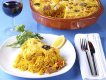 "Crusted rice – Arroz con costra. The ""Arroz con Costra"" is a typical rice recipe from the South part of the Valencia Region: Elche (south of Alicante) Royalty Free Stock Photos"