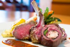 Crusted Stuffed Lamb Chops stock images