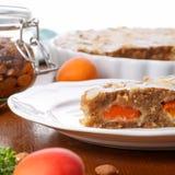 Crustless apricot frangipane tart with almonds and aromatic lemo Royalty Free Stock Image