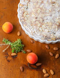Crustless apricot frangipane tart with almonds and aromatic lemo Royalty Free Stock Images