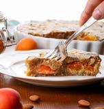 Crustless aprikosfrangipane som är syrlig med mandlar och aromatisk lemo Arkivfoton