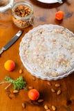 Crustless aprikosfrangipane som är syrlig med mandlar och aromatisk lemo Fotografering för Bildbyråer