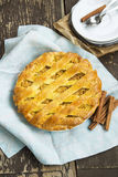 Crusty Apple Pie with Cinnamon. On a Plate, Tasty Fruit Tart Royalty Free Stock Photo