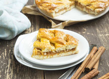 Crusty Apple Pie with Cinnamon. On a Plate, Tasty Fruit Tart Stock Images