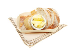 Crusty bread and butter in a basket Stock Images