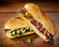 Free Crusty Crisp Baguettes With Figs, Cheese And Beef Stock Photography - 39391452