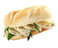 Crusty French baguette with goats milk cheese Stock Image