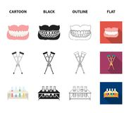 Crutch, tripod with test tubes, wheelchair, human respiratory system. Medicine set collection icons in cartoon,black. Outline,flat style vector symbol stock Royalty Free Stock Image