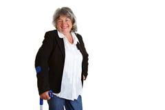 crutches гулять пенсионера Стоковые Изображения