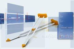 Crutches. 3d multi use medical crutches in color background Stock Images