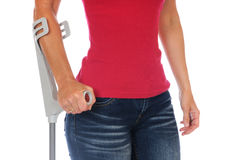 Crutches. Patient with crutches in front of a white background Royalty Free Stock Photos