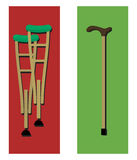 Crutches and a cane. Illustration in a flat design Royalty Free Stock Photography