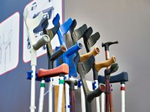 Crutches elbow with emphasis. Crutches elbow with an emphasis Royalty Free Stock Photos