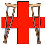 Crutches and first aid symbol. Pair of crutches leaning against first aid symbol -  vector Stock Image