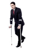 Crutches really help me to walk. Royalty Free Stock Image