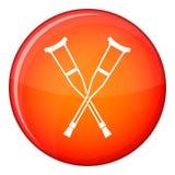 Crutches icon, flat style Royalty Free Stock Photo