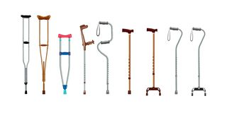 Crutches icon set, realistic style royalty free illustration
