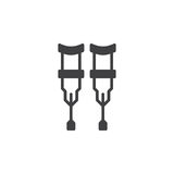 Crutches icon vector, filled flat sign, solid pictogram isolated on white. Stock Images