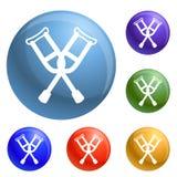 Crutches icons set vector vector illustration