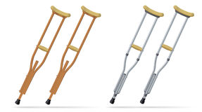 Crutches. Medical realistic objects. Treatment and rehabilitation of people with leg injuries. Vector. Crutches metallic annd wooden set. Medical realistic Stock Photos