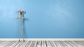 Crutches in the Room. With Wooden Floor and Blue Wall with Copy Space 3D Illustration Royalty Free Stock Photography