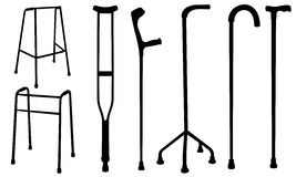 Crutches. Set of crutches and walkers Royalty Free Stock Photos