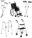 Crutches and Wheelchairs vector illustration