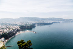 Cruving Vista of Amalfi Coast. The Amalfi Coast curving into distance shot from above Royalty Free Stock Photos