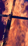 Crux and fire. The crux in the flames of fire Royalty Free Stock Images
