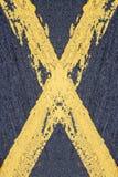 Cruz amarilla pintada Imagen de archivo libre de regalías