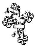 Cruz antiga com fita ao redor Imagem de Stock Royalty Free