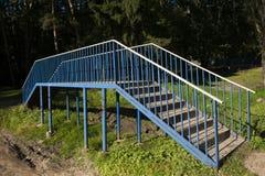 Cruz azul da ponte o lago em Rússia Fotos de Stock Royalty Free