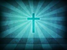 Cruz azul del grunge Foto de archivo