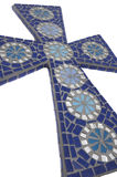 Cruz azul del mosaico con el fondo blanco Imagen de archivo libre de regalías