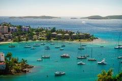 Cruz Bay, St John, United States Virgin Islands with a lot sailboats stock photos